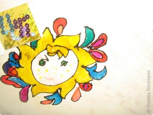 Это моё солнышко оно очень доброе и ласковое. Я нарисовала его витаржными красками. фото 1