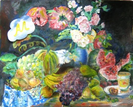 """Картина маслом (моя) по мотивам картины Торопова """"Цветы и фрукты"""". размер А2. Я выбрала тему биология. Пища будущего. В будущем, да и вообщем-то сейчас так мало натуральных овощей и фруктов, так много химии, что настоящие полезные плоды останутся только на картинах. фото 3"""
