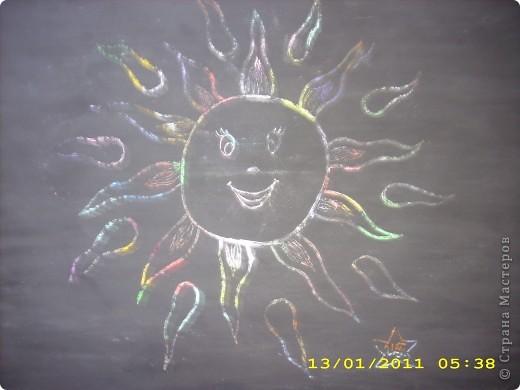 Всем снова привет! Это мое солнышко. Я его сделала из соленого теста и раскрасила гуашью. фото 3