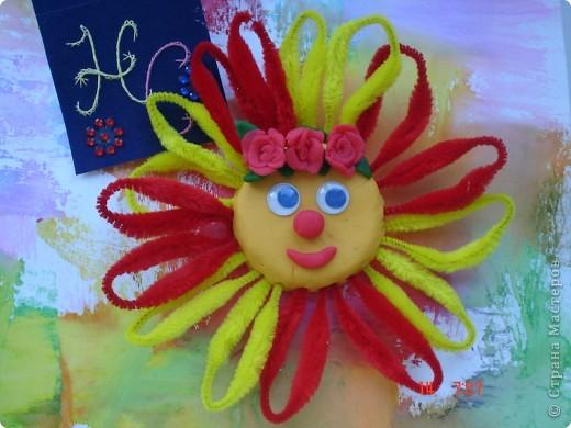 Поклонение Солнцу на Руси. Вот такое Солнышко у меня получилось из соленого теста и синельной проволоки  фото 1