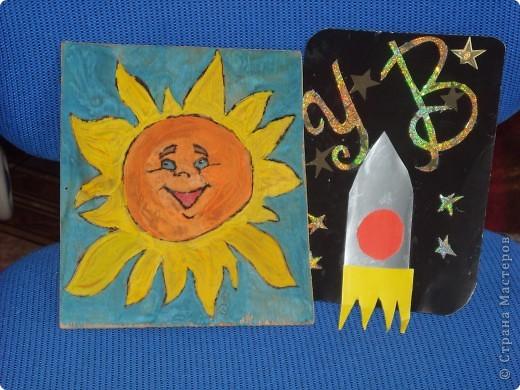 Звезда по имени Солнце. Я смастерила Солнце способом выжигания на фанере и раскрасила гуашью. Солнышко получилось живым и очень радостным. фото 1