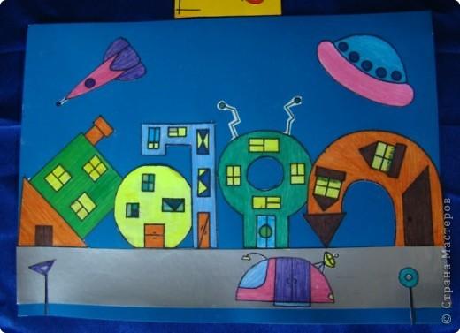 Тема 4. Возрождение Земли Область «Техника, строительство, конструирование» 1) Город будущего. Оранжевый дом - это жилой дом. Дом с антеннами - это отель. Круглый дом - это кофе. Перевёрнутый дом - это школа. Всё будет сделано из прочных материалов. фото 1