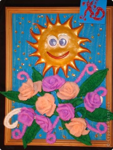 Вот и моё солнышко. Ласковое и нежное.  Веселое и такое долгожданное! Ведь у нас на Кубани в этом году зима словно сдвинулась на месяц. В декабре и январе у нас было тепло, солнечно. А вот февраль и март вышли холожными, дождливыми, снежными! И вот только 2 дня как солнечная погода! Мы так радуемся весчне! И солнышку- такому теплому, яркому. Вот я  сделала такое панно - Солнечная радость. фото 1