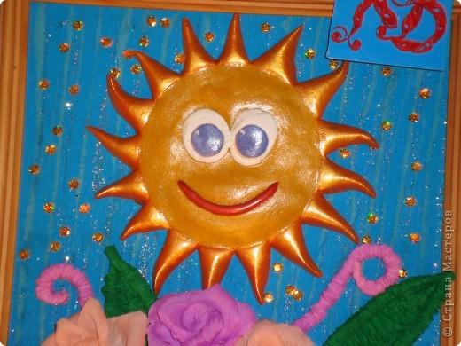 Вот и моё солнышко. Ласковое и нежное.  Веселое и такое долгожданное! Ведь у нас на Кубани в этом году зима словно сдвинулась на месяц. В декабре и январе у нас было тепло, солнечно. А вот февраль и март вышли холожными, дождливыми, снежными! И вот только 2 дня как солнечная погода! Мы так радуемся весчне! И солнышку- такому теплому, яркому. Вот я  сделала такое панно - Солнечная радость. фото 2