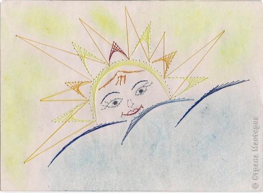 Солнышко весеннее.  Прошла зима, миновали метели. И вот, из-за тучек появилось солнышко, по-весеннему теплое и ласковое, но еще осторожное, вдруг налетит запоздалая вьюга!   (изонить, рисунок) фото 1