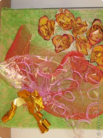"""Работа из сухих цветов, созданная по мотивам """"живого"""" букета, на мой взгляд, совсем не уступает оригиналу. фото 1"""