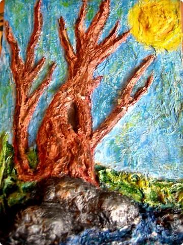 """Весеннее дерево в технике """"бумагопластика"""" фото 1"""