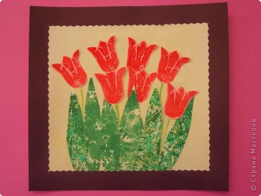 Это первая конкурсная работа моей младшей дочки (3 годика). Аппликация с элементами штамповки.  фото 1