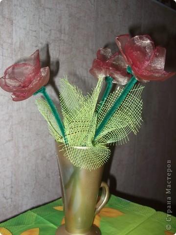 Мои тюльпанчики сделаны на одном дыхании. Увидела цветущие тюльпаны и в голове сразу родились хорошие мысли Вспомнила про органзу, а там уже все пошло как по маслу. фото 1