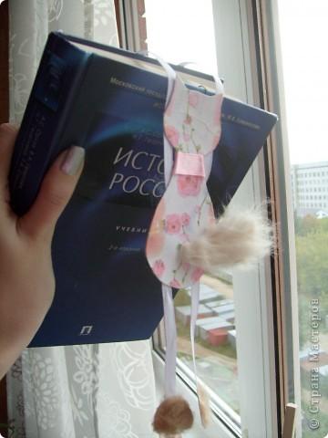 Вот такой котик, пришел мне на ум))) вырезан из катртона, который я задекупажила салфеткой, лапки это ленты, на задние лапки и хвостик приклеила шерсть, сам котя крепится к обложке книги засчет скрепки , приклеенной с обратной стороны фото 3