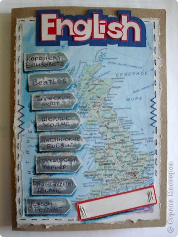 Тетрадь простая для записи иностранных слов. Фон-карта Великобритании. Специально не использовала скраповские штучки, хотелось достичь задуманного эффекта простыми путями. фото 1