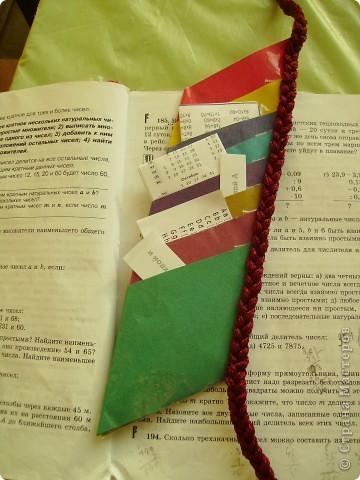 Это закладка мне помогает в учебе, она состоит из кармашков. Туда я сложил все мои короткие записочки по всем предметам.  фото 4