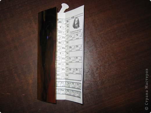 Вот моя закладка по химии. Вверху приклеена колба, в середине портрет Менделеева, а внизу сама не знаю, =))) (тут скрепки с одной стороны. ) фото 4