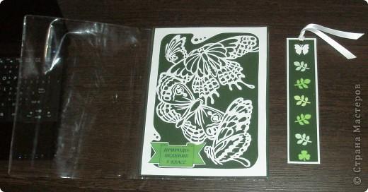 Вот такой набор я сделал для природоведения. Для обложки я выбрал и вырезал картинку с бабочками. Напечатал надпись и приклеил вырезалку и надпись на картон. Для закладки использовал дырокольные листочки.  фото 2