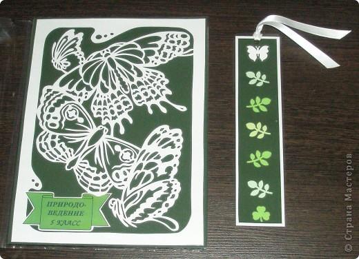 Вот такой набор я сделал для природоведения. Для обложки я выбрал и вырезал картинку с бабочками. Напечатал надпись и приклеил вырезалку и надпись на картон. Для закладки использовал дырокольные листочки.  фото 1