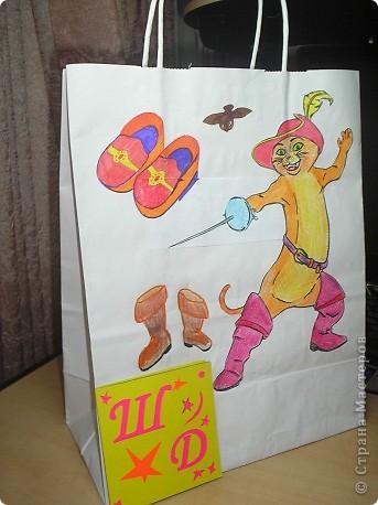 """мешочек для сменной обуви """"кот в сапогах"""" фото 1"""