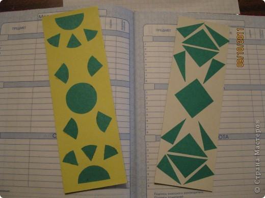 Закладка с цветочком - для учебника по окружающему миру, спираль (знак бесконечности) - для математики. Выполнены в технике ниткография. фото 2