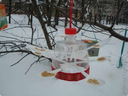 Мы решили сделать оригинальные кормушки для небольших по величине птиц: синиц, снегирей и воробьев и разместить их в нашей птичьей столовой на участке детского сада.  фото 1