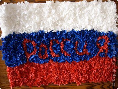 Флаг Российской Федерации в технике торцевание. фото 1