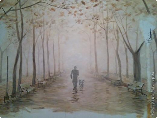 """В День Парков я предлагаю Вам выйти на прогулку в парк, насладиться красотой """"городского оазиса"""". Эту парковую аллею я нарисовала  на стене в квартире моего друга акриловыми красками. Именно он гуляет со своей собакой в центре картины. фото 2"""