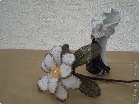 Веточка магнолии выполнена в технике ГАНУТЕЛЬ. фото 9