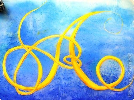 Первую букву старославянской письменности - Аз решила нарисовать в технике холодного батика. А еще это моя любимая буква, ведь я - Аленка.  Древнерусскую, языческую богиню утренней зари звали Алёна, что означает алая, красивая.   фото 1