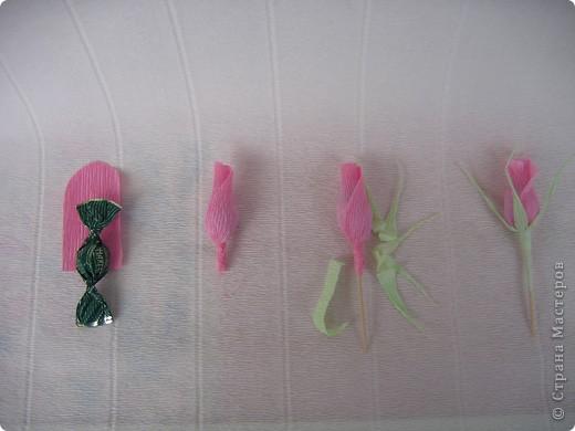 Бутоны роз можно сделать из различных материалов... Я предпочитаю заворачивать конфетки в гофробумагу, придавая вид бутона розы. фото 3