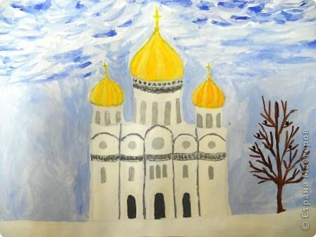 Красивые на Руси строились храмы.Часто они были построены из белого камня, поэтому решила изобразить белокаменный храм. фото 1