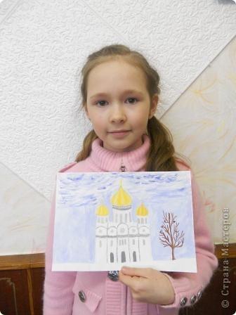 Красивые на Руси строились храмы.Часто они были построены из белого камня, поэтому решила изобразить белокаменный храм. фото 2