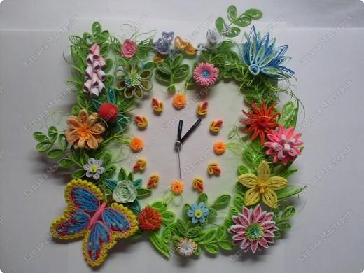 Декор предметов Квиллинг Часы в технике квиллинг Бумажные полосы фото 10
