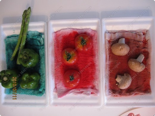 Однажды мы ходили на какой-то праздник, и там было много овощей, которыми можно было штамповать и рисовать различные картинки. Там были: дайкон, спаржа, помидоры, перец, картофель, грибы, ренкон (корень лотоса), паприка. Получались очень интересные отпечатки. Через несколько дней я наткнулась у Инны в блоге на такую пиццу. http://increations.blogspot.com/2008/07/printed-pizza.html Решив, что штамповать пиццу детям будет интересней, я выбрала только помидоры, паприку, спаржу и грибы. фото 6