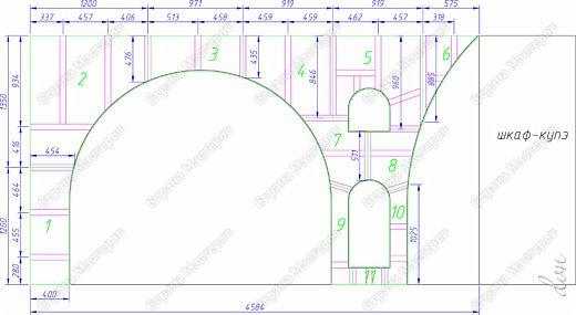 Расположение листов гипсокартона на арочной конструкции представлено на фото выше.