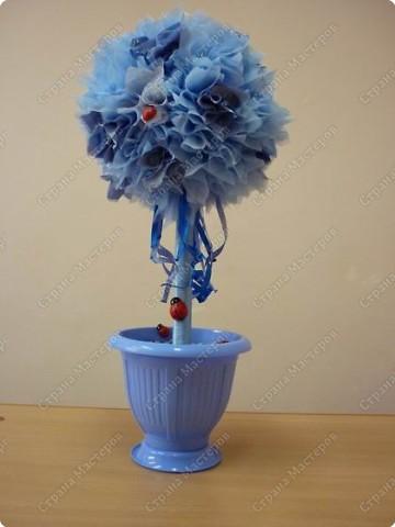 """мне так понравилось делать""""фунтики""""(букет из цветов) и вот такое дерево-счастье у меня получилось  фото 3"""