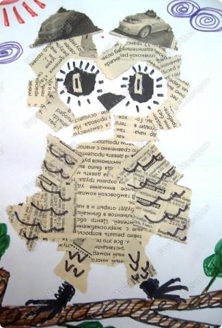 Обрывная аппликация из газеты на подложке с дорисовыванием фломастерами уточняющих деталей кудряшками, спиралькой .