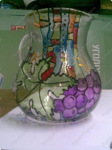Кувшин с росписью витражными красками. фото 1