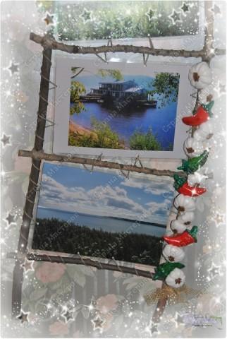 У моей мамы был день рождения. И как-то мы сделали ей фотографии с мест ее родины (деревни в Ульяновской области на берегах реки Волга).  Фотографии так был и лежали, если бы всей семьей не сделали ей вот такую рамочку.  Участие принили все: и сын (собирал палочки), и муж (пилил и собирал рамку)... Декор же был за мной :-))) Хотелось сделать что-то такое колоритное - деревенское. фото 4