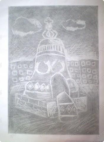 Рисование ластиком. Тонируется лист простым карандашом, затем ластиком вырисовывается рисунок. Работа выполнена ребенком 7-ми лет. фото 1