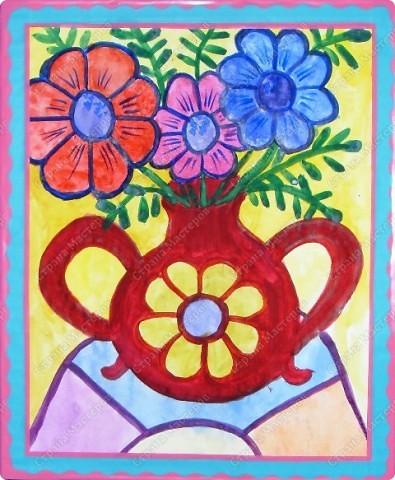 """Работы учащихся объединения """"Юный художник"""", выполненные на выставку к дню матери. Хилтухинова Алтана, 13 лет """"Букет для мамы"""" фото 5"""