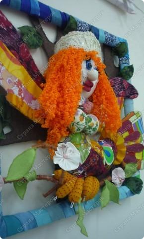 """Представляю детский проект """"Птица-счастья"""", ученицы 8 класса Щедриной Виктории. Мы сшили игрушку  из лоскутов и поместили в рамку. фото 2"""