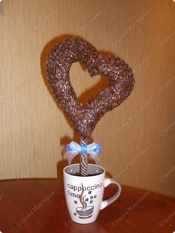 Вот такое кофейное сердечко получилось у меня! Спасибо за МК koketka (http://stranamasterov.ru/node/124256) фото 1