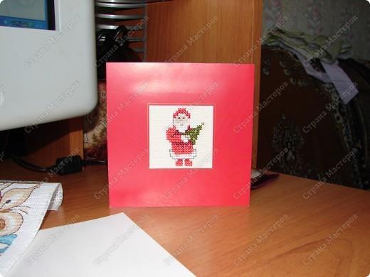 Самая первая открытка - Новогодняя. (Не судите строго) Вышивала по фото из журнала фото 3