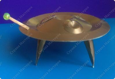 Предлагаю сделать летающую тарелку. нам понадобится- картон, циркуль, ножницы, авторучка без чернил, клей фото 1