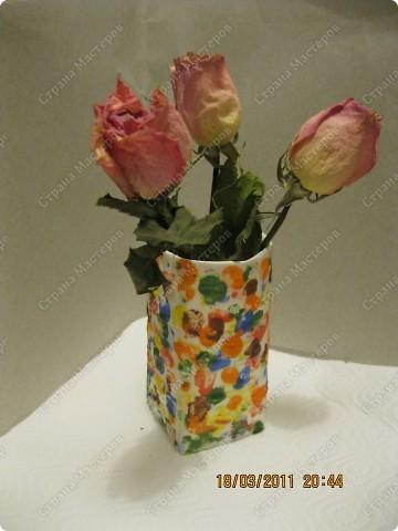 Рисуем пальчиками на картонной вазе!!