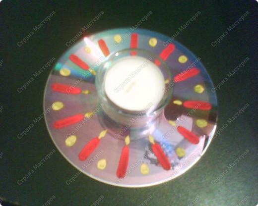 Подсвечники на Пасху из CD-дисков, раскрашенных акриловыми красками, и подсвечников из Икеи. фото 3