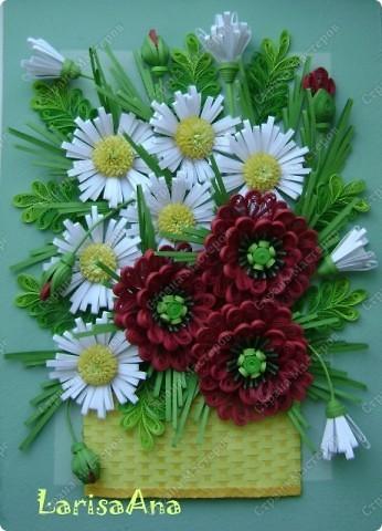 И снова букет в корзинке ( ещё не наигралась с плетением) Маки делала разные, самые первые по МК Инны http://increations.blogspot.com/2009_09_01_archive.html . Теперь получились вот такие маки!!!!!!  фото 1