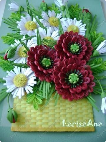 И снова букет в корзинке ( ещё не наигралась с плетением) Маки делала разные, самые первые по МК Инны http://increations.blogspot.com/2009_09_01_archive.html . Теперь получились вот такие маки!!!!!!  фото 4