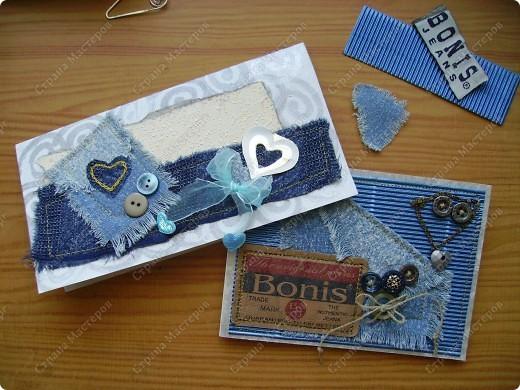 Мои открытки рождаются из материала, который нахожу вдруг, неожиданно. На даче наткнулась на старую джинсовую рубашку и пошло-поехало... фото 2