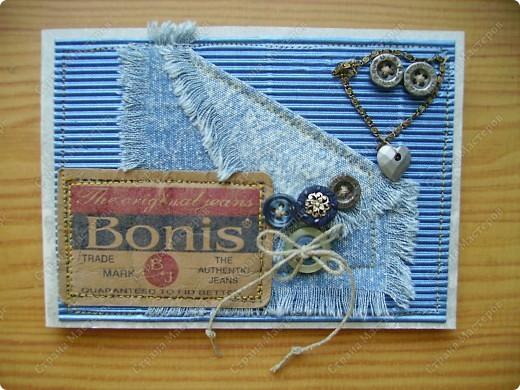 Мои открытки рождаются из материала, который нахожу вдруг, неожиданно. На даче наткнулась на старую джинсовую рубашку и пошло-поехало... фото 3