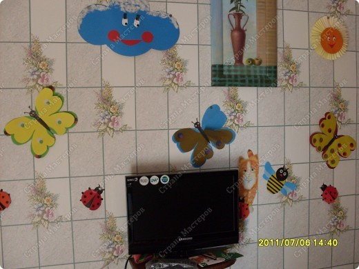 Спасибо стране мастеров. Подсмотрели мастер-класс по украшению класса и  с сыном решили украсить стену кухни.  фото 1