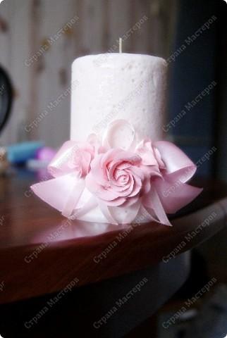 Воздушная свеча с украшением из deco clay